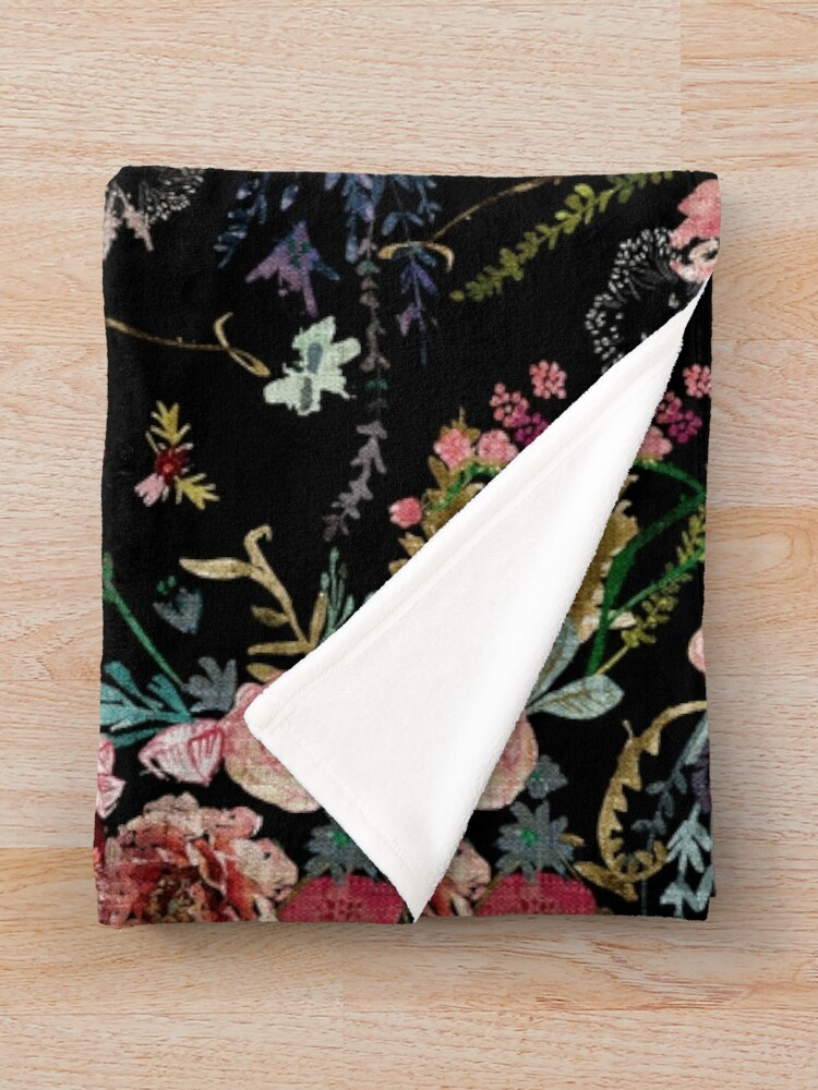 Alternate view of Midnight Floral Throw Blanket