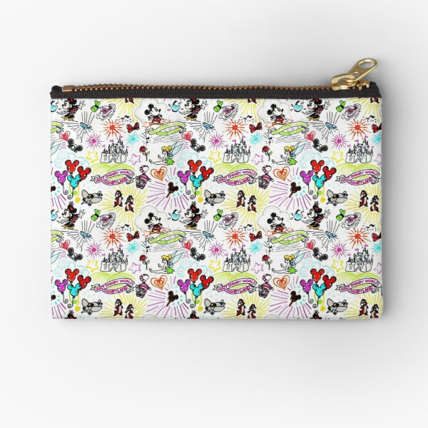 Character Sketch Vacation Print Zipper Pouch
