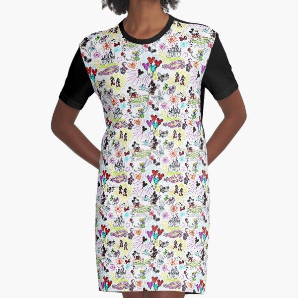 Character Sketch Vacation Print Graphic T-Shirt Dress