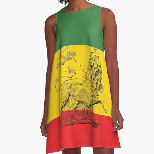 Lion of Judah Rasta Colours A-Line Dress