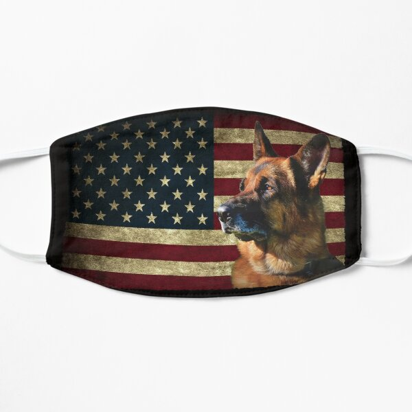 German Shepherd face American Flag lover 4th of July gift GS dog dad GSD Dog mom Flat Mask