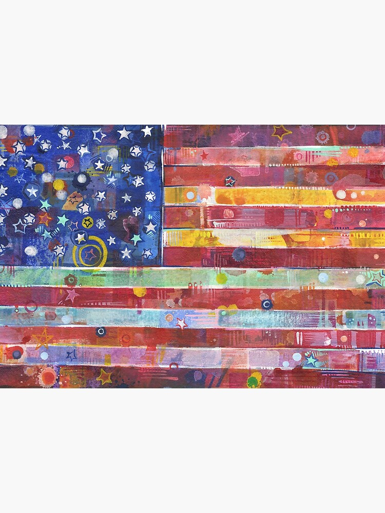 Rainbow American Flag Painting - 2020 by gwennpaints