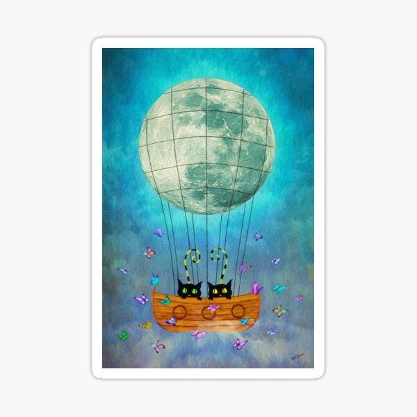 Cat & Moon & Balloon Sticker