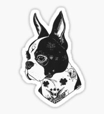 Tattooed Boston Terrier  Sticker