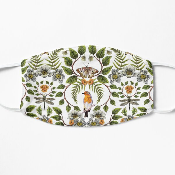 Spring Reflection - Floral/Botanical Pattern w/ Birds, Moths, Dragonflies & Flowers Flat Mask