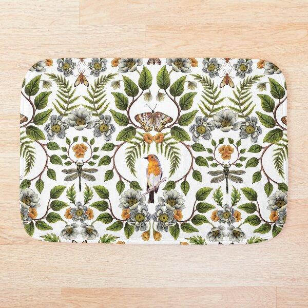 Spring Reflection - Floral/Botanical Pattern w/ Birds, Moths, Dragonflies & Flowers Bath Mat