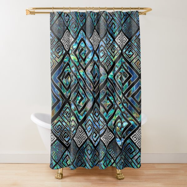 greek key pattern shower curtains redbubble