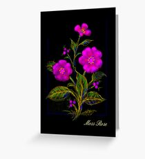 'Old Fashioned Pink Moss Rose', Greeting Card or Small Print Greeting Card