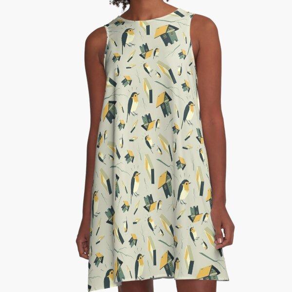 Flying Birdhouse (Pattern) A-Linien Kleid