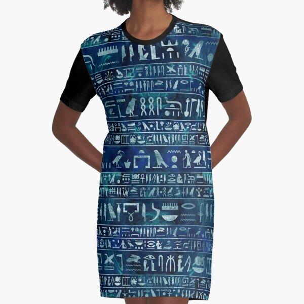 Ägyptische Hieroglyphen - Silber auf blauer gemalter Beschaffenheit T-Shirt Kleid