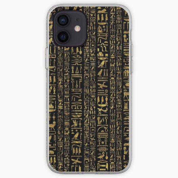 Egyptian hieroglyphs vintage gld on black iPhone Soft Case