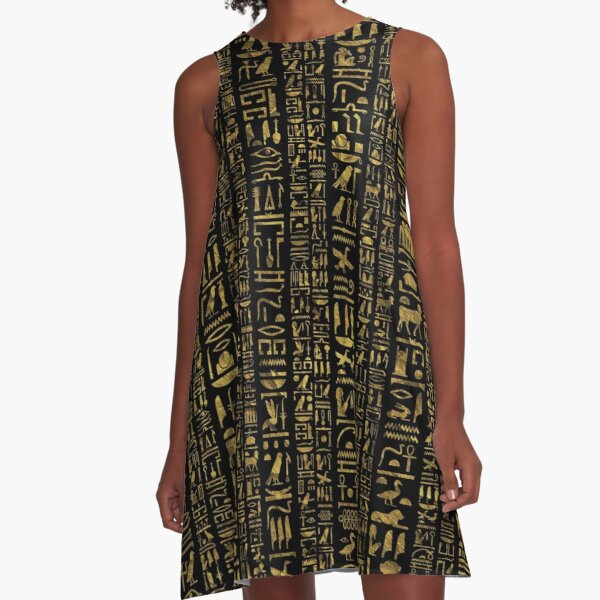 All Sizes Egyptian Kaftan Dress For Egyptian Queens- Boho Dress Made in Egypt Bronze Goddess Sacred Hieroglyphics Dress