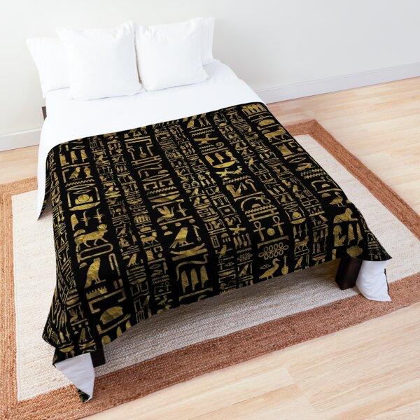 Egyptian hieroglyphs vintage gld on black Comforter