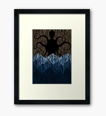 Cthulhu's sea of madness - Brown Framed Print