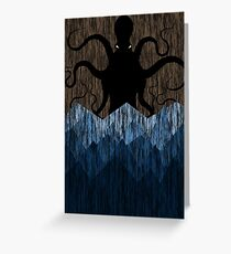 Cthulhu's sea of madness - Brown Greeting Card