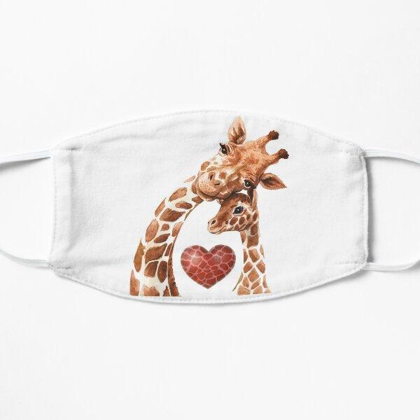 Giraffe Mom Heart Baby Giraffes Lover Flat Mask