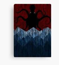 Cthulhu's sea of madness - Red Canvas Print