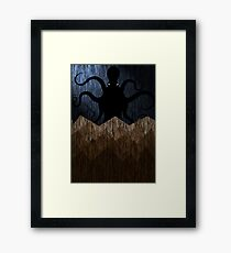 Cthulhu's mountains of madness - blue Framed Print