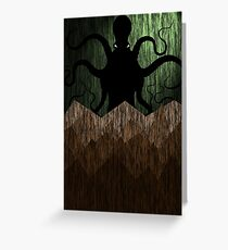Cthulhu's mountains of madness - green Greeting Card
