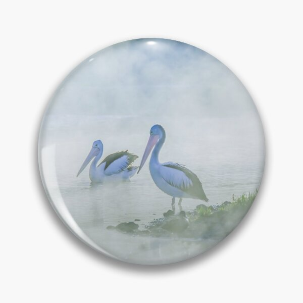 Pelicans in the Fog Pin