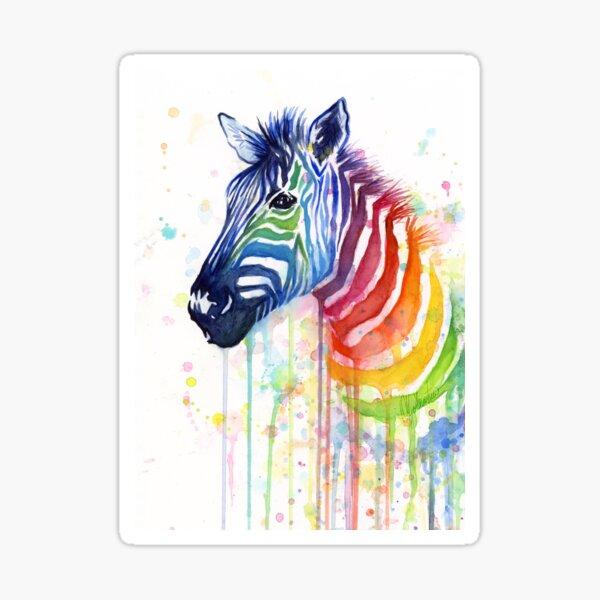 Regenbogen Zebra Aquarell Tiermalerei Sticker