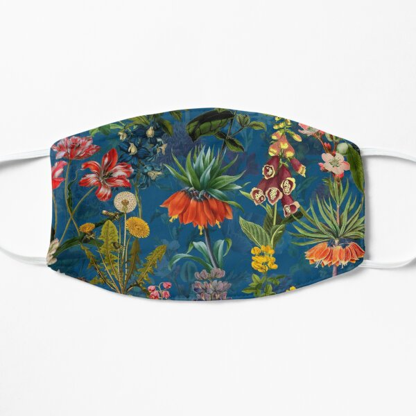 Vintage Blue Springflower Meadow Night Flat Mask