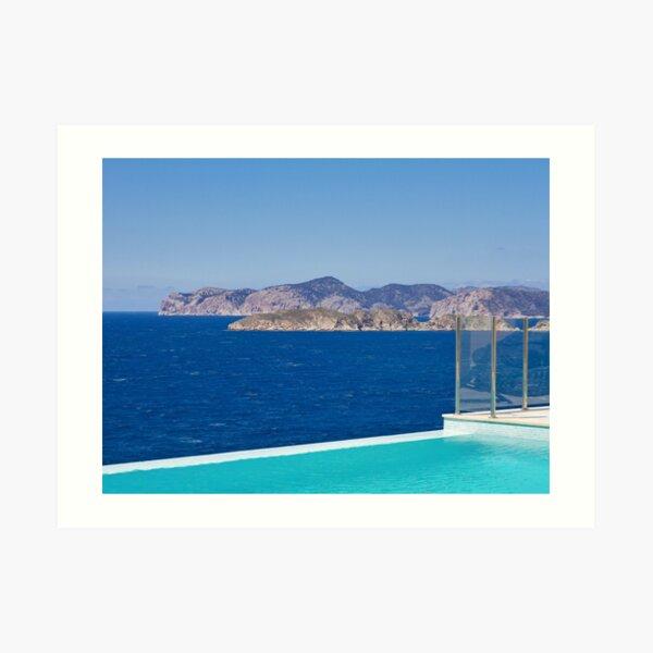 Infinity pool overlooking the Mediterranean Sea Art Print
