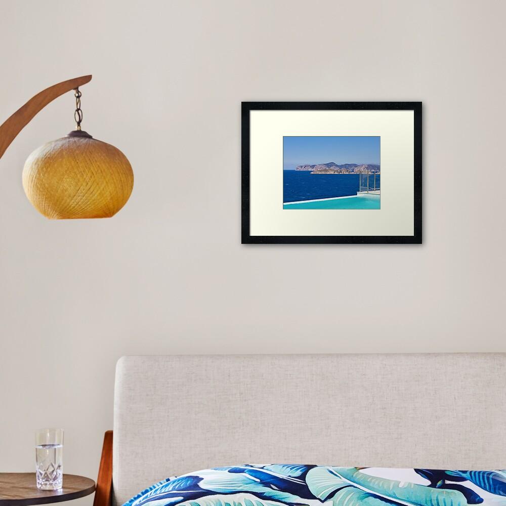 Infinity pool overlooking the Mediterranean Sea Framed Art Print