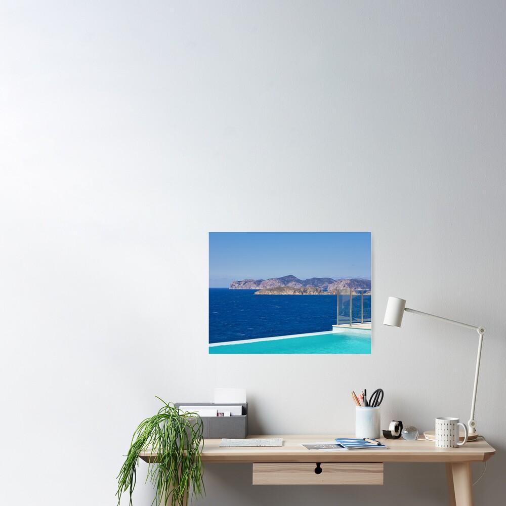 Infinity pool overlooking the Mediterranean Sea Poster