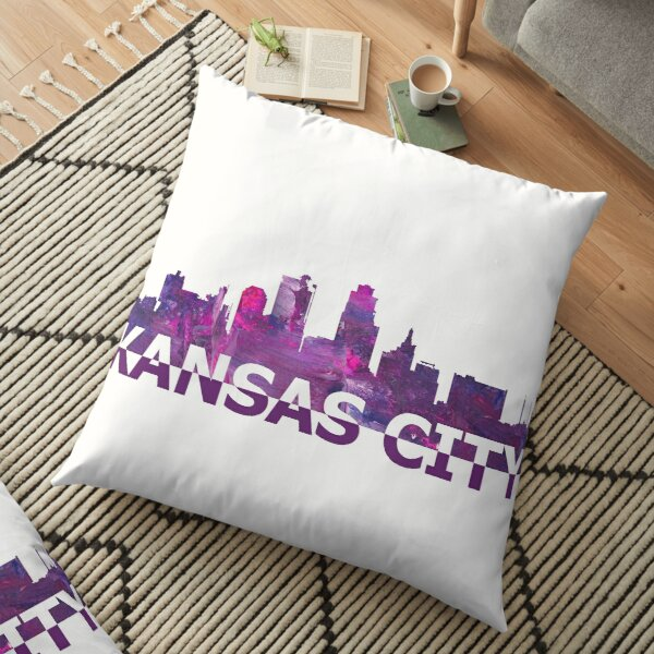 Kansas City Skyline Silhouette Strong with Text  Floor Pillow