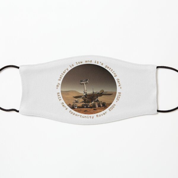 It's Getting Dark. Last words of Nasa Opportunity Mars Rover. Astronomy. Kids Mask