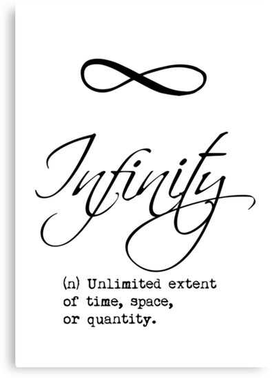 infinity definition calligraphy canvas prints by