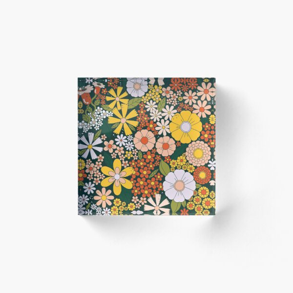 Retro 70's flowers power all over pattern Acrylic Block