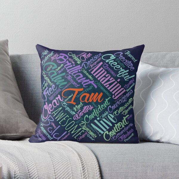 I am Affirmations Word Cloud Art Throw Pillow