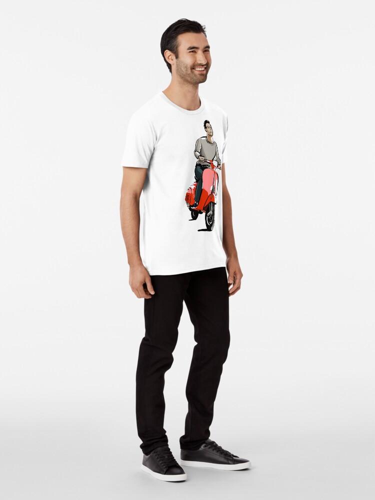 Vista alternativa de Camiseta premium Dibujo de moto vespa | Ilustración motocicleta
