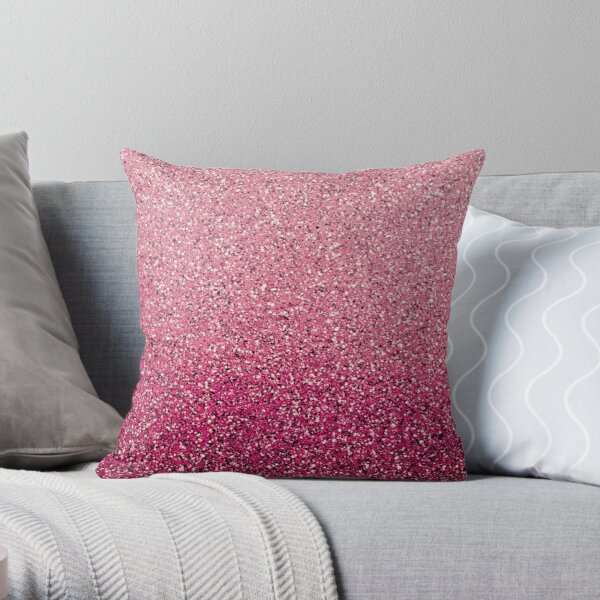 Pink Ombre Glitter Throw Pillow