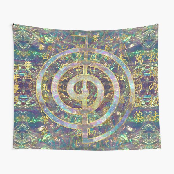 Gold Choku Rei Symbol and Reiki Precepts Tapestry