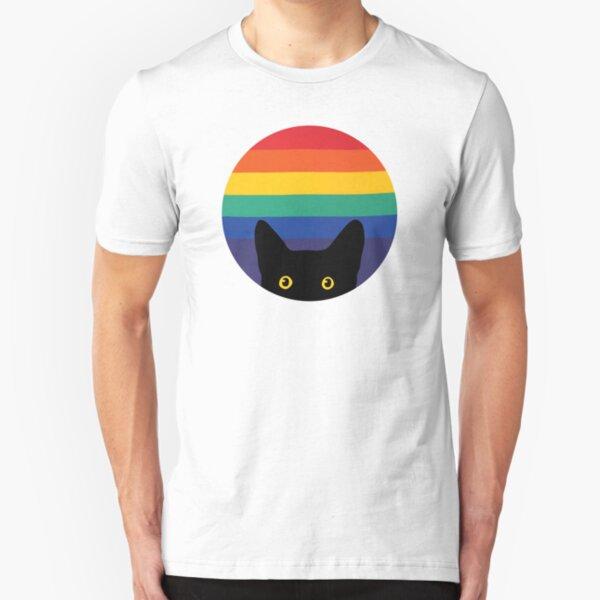 Peeking Cat in Rainbow Circle Slim Fit T-Shirt