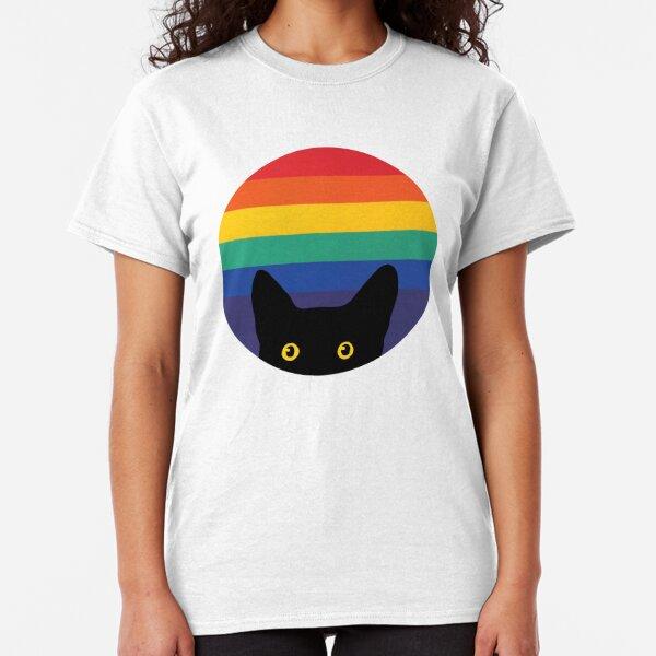 Peeking Cat in Rainbow Circle Classic T-Shirt