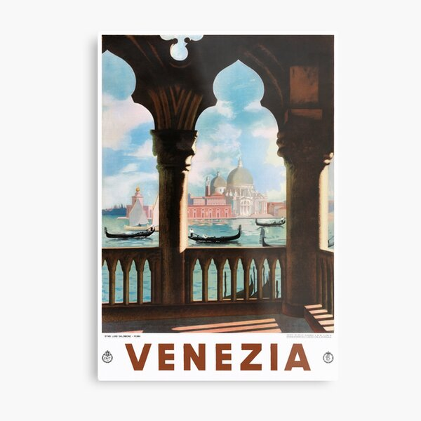 Venice Venezia ENIT Italy Vintage Travel Poster Restored Metal Print