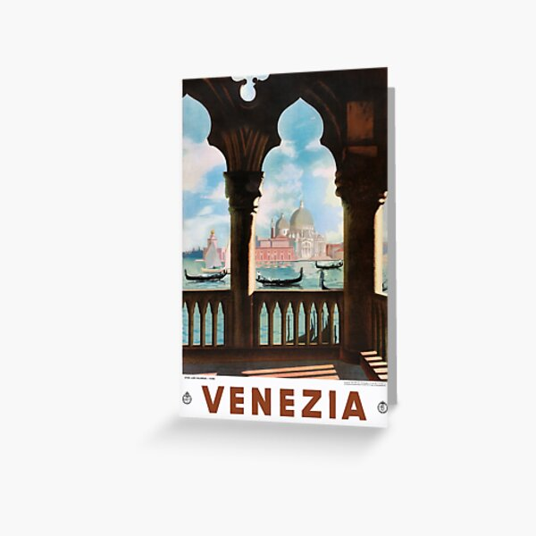 Venice Venezia ENIT Italy Vintage Travel Poster Restored Greeting Card