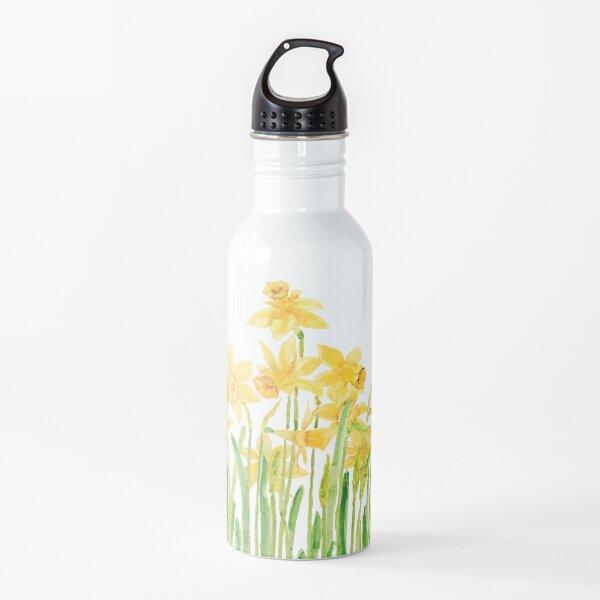 yellow daffodils field watercolor Water Bottle