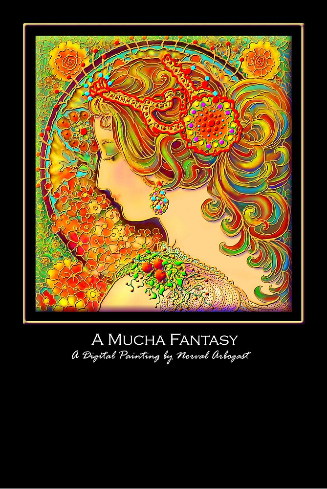 'A Mucha Fantasy', Titled Greeting Card or Small Print by luvapples downunder/ Norval Arbogast