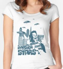 Invasion from beyond the stars Women's Fitted Scoop T-Shirt
