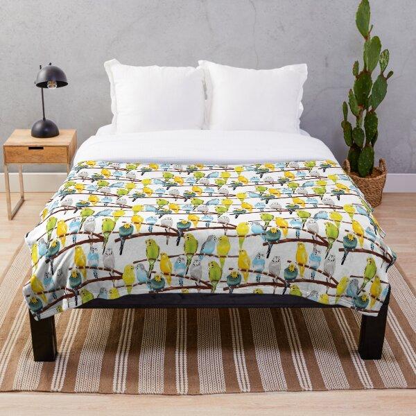Budgie pattern watercolour Throw Blanket