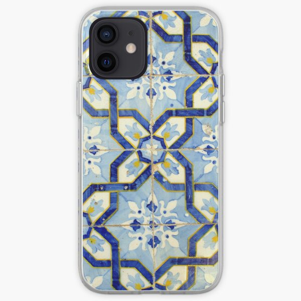 Portuguese tiles. Blue flowers and background iPhone Soft Case