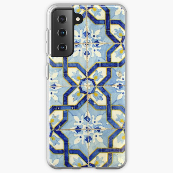 Portuguese tiles. Blue flowers and background Samsung Galaxy Soft Case