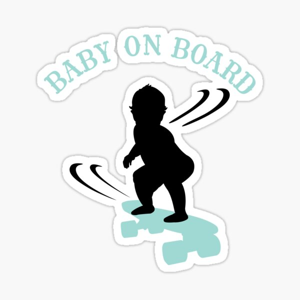 Skateboarding Boy Baby On Board - Dark Sticker