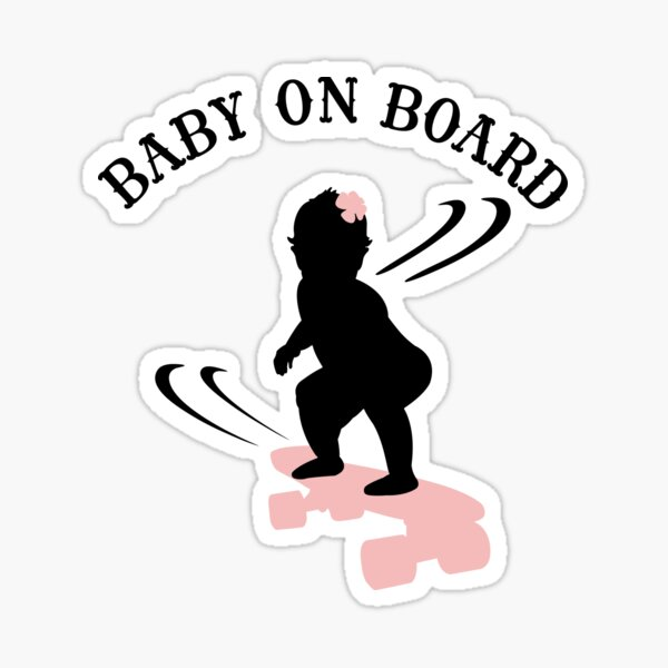 Skateboarding Girl Baby On Board - Dark Sticker