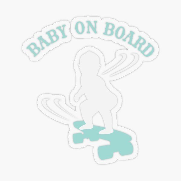 Skateboarding Boy Baby On Board - Light Transparent Sticker